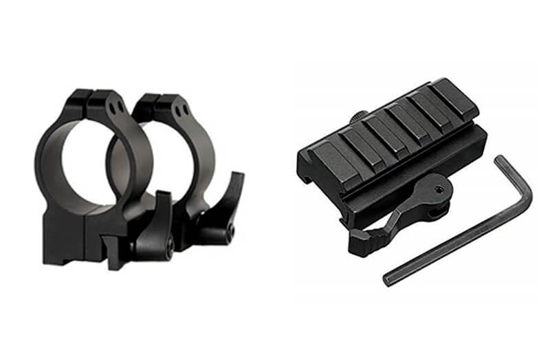 sistema de anillas y montaje abatible o desmontable para visores