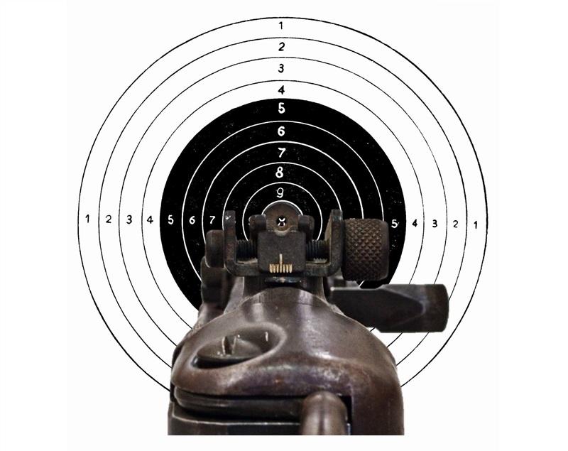 como apuntar con un rifle sin mira telescopica o mira abierta